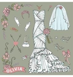 Bridal shower dressaccessories setfloral decor vector