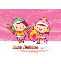 A couple of gifts decorated christmas cards vector