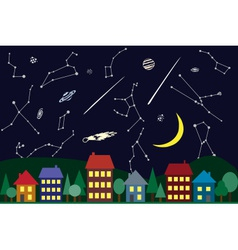Night sky above the city vector