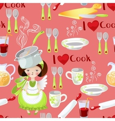 Seamless pattern with the little girl and kitchen vector