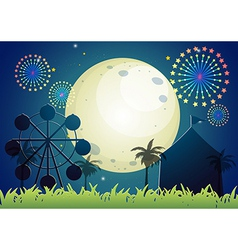 A carnival under the bright fullmoon vector