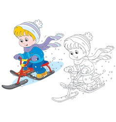 Child on a snow scooter vector