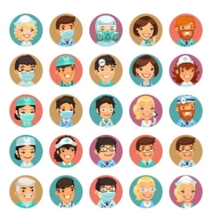 Doctors cartoon characters icons set3 vector