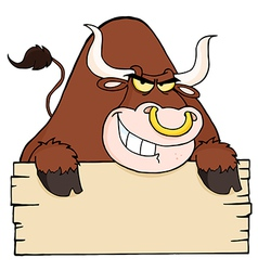Brown bull and blank sign vector
