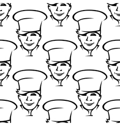 Repeat pattern of smiling young chefs vector