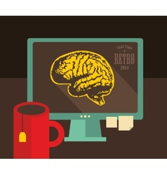 Computer with digital brains on the screen vector