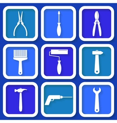 Set of 9 retro blue workers tools vector