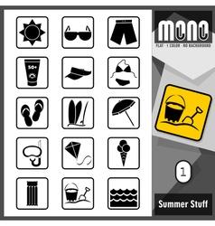 Mono icons summer stuff 1 vector