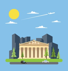 Flat design of parthenon greek vector