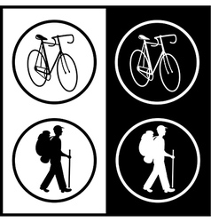 Bicycle and traveller icons vector