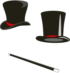 Magic hats and cane vector
