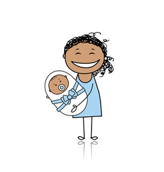 Happy mother smiling with newborn baby vector