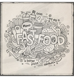 Fast food hand lettering and doodles elements vector