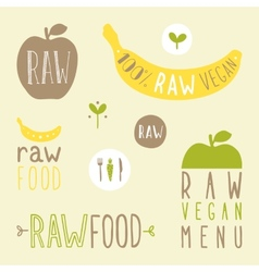 Raw vegan labels vector