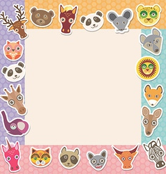 Set of funny animals muzzle square frame template vector
