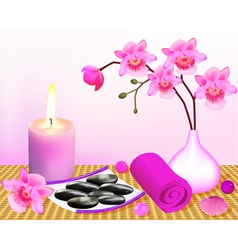 Background for spa with orchid vector
