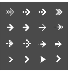 White arrows set on a black background vector