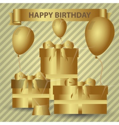 Happy birthday gold theme with gifts and balloons vector