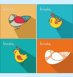 Icons with birds vector