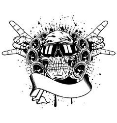 Skull in sunglasses and hand gesture rock vector