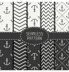 Set of monochrome marine geometri seamless pattern vector