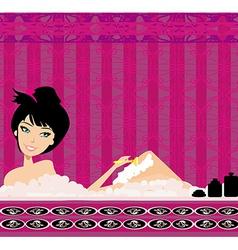 Young woman shaving legs in bath vector