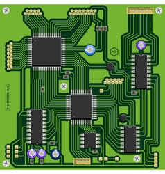 Printed circuit board with components vector