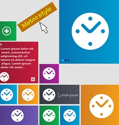 Mechanical clock icon sign metro style buttons vector