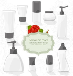 Set cosmetic bottles of different shapes vector