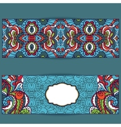 Abstract ethnic pattern cards setbright vector