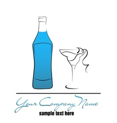 Bottle and wineglass vector