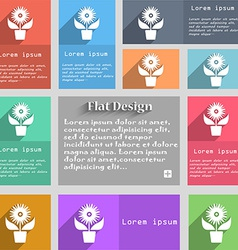 Flowers in pot icon sign set of multicolored vector