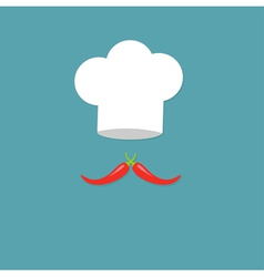 Chef hat and big red hot pepper mustache blue vector