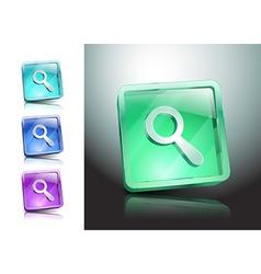 Glass magnifier icon matte button vector