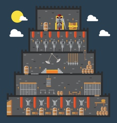 Flat design of castle dungeon internal vector