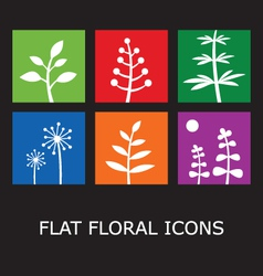Flat floral icons vector