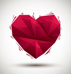 Red heart geometric icon made in 3d modern style vector