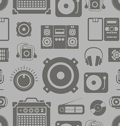 Audio equipment icons collection seamless pattern vector