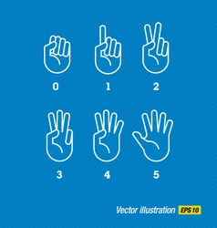 Hands finger and numbers vector