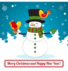 Funny cartoon snowman on christmas background vector