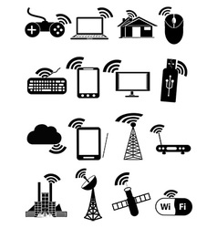 Wireless network icons set vector