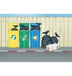 Three different colors of trash cans vector