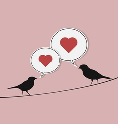 Birds on wire vector