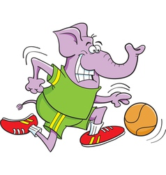 Cartoon basketball elephant vector