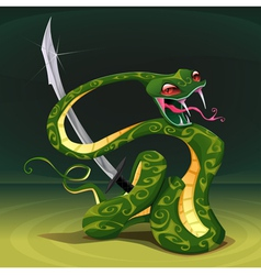 Poisonous snake with saber vector