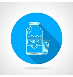 Line icon for milk bottle and glass vector