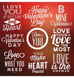 Collection of valentines day typographic designs vector