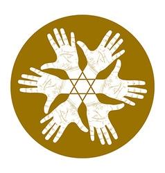 Six open hands abstract symbol with hexagonal star vector