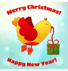 For christmas and new year with fun birds vector