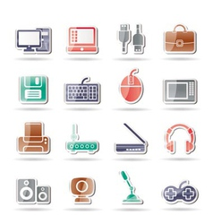 Computer equipment and periphery icons vector